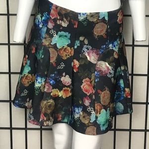 Floral zip up flared A-Line skirt